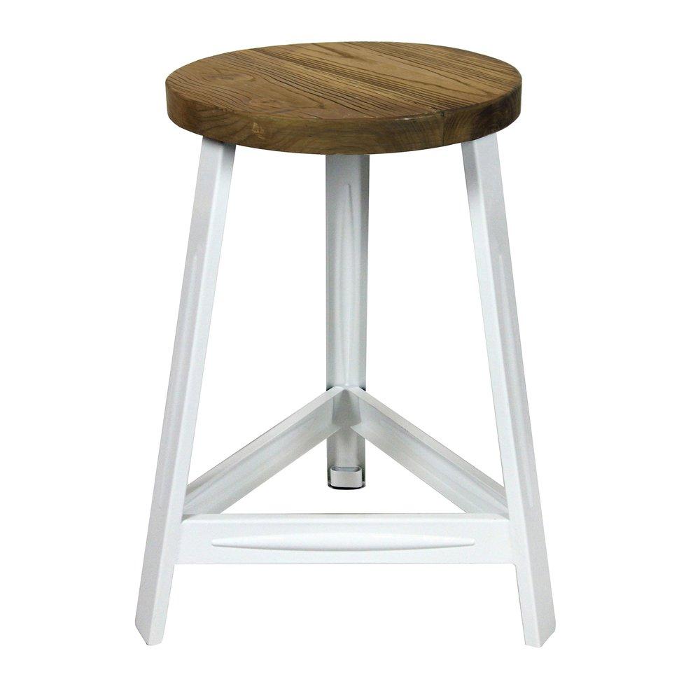 Tabouret - Tabouret 33x33x46 cm en bois et métal blanc photo 1