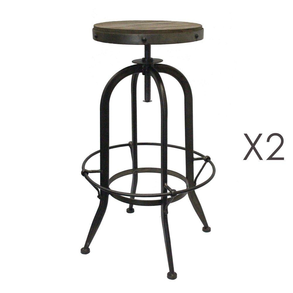 Tabouret de bar - Lot de 2 tabourets de bar en bois et métal noir - ATELIER METAL photo 1