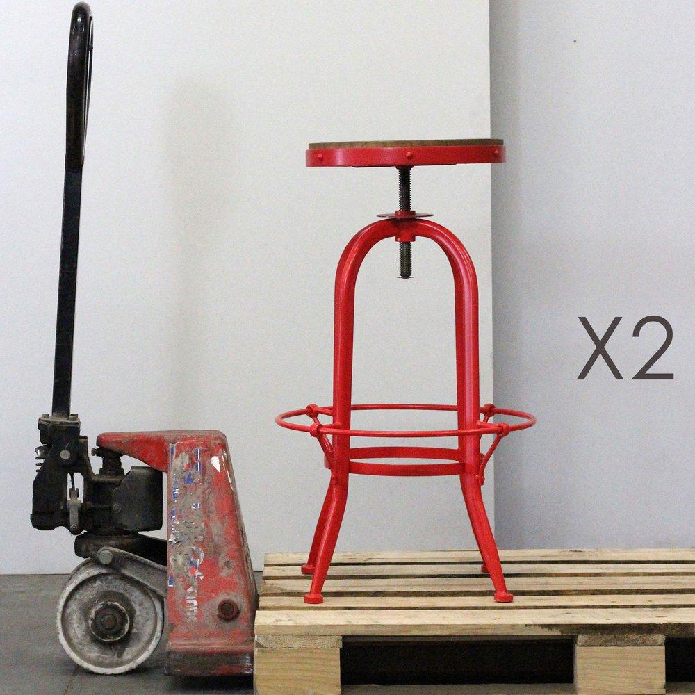 Tabouret de bar - Lot de 2 tabourets de bar en bois et métal rouge - ATELIER METAL photo 1