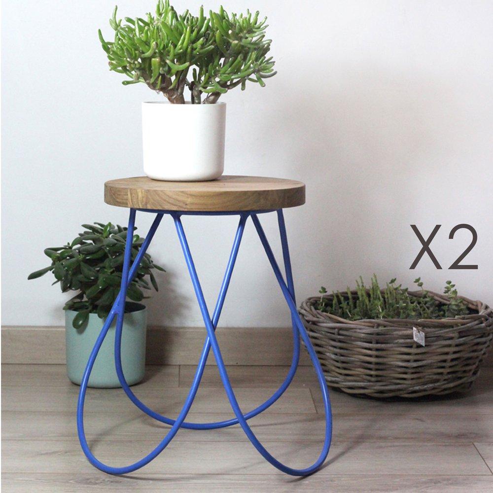 Tabouret - Lot de 2 tabourets design en bois et métal bleu - MELODIE photo 1