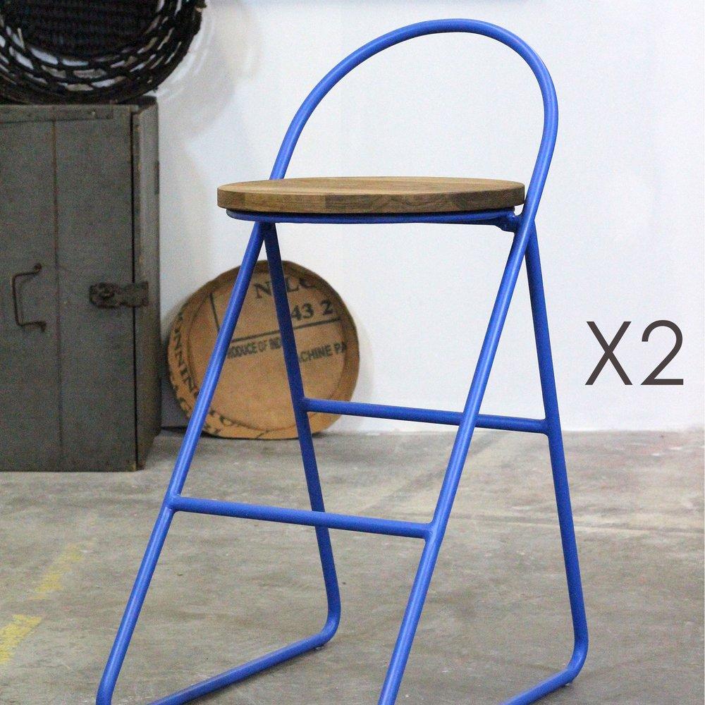 Tabouret de bar - Lot de 2 tabourets de bar design en bois et métal bleu - MELODIE photo 1