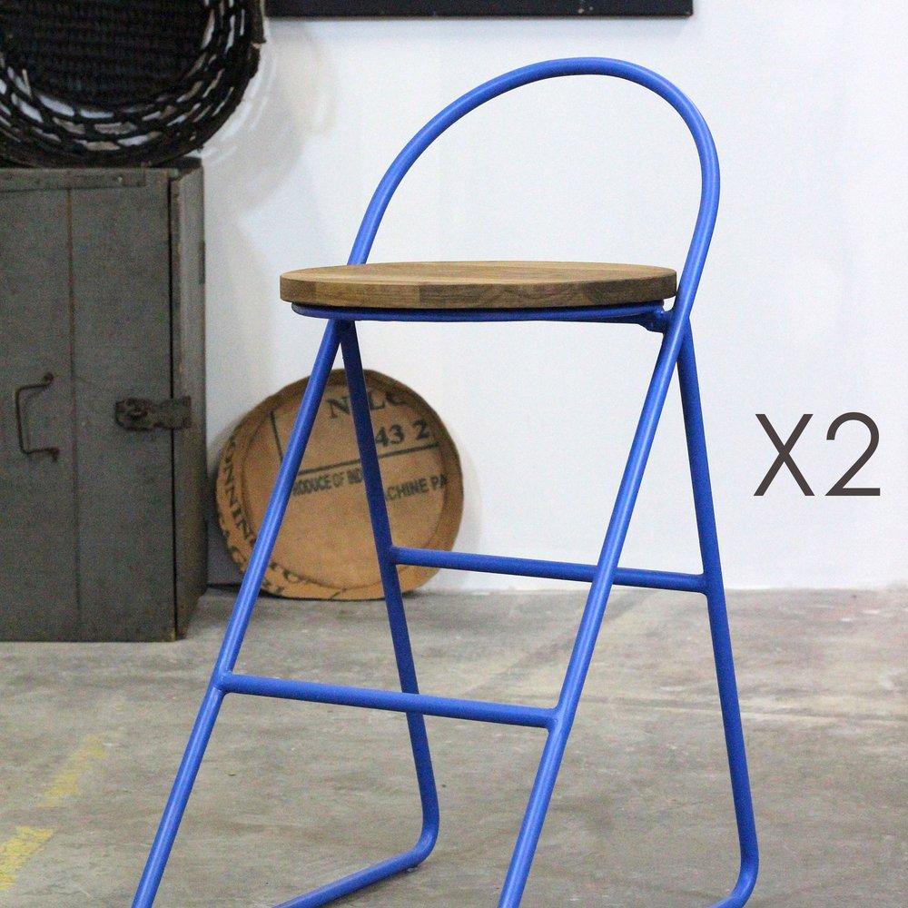 Tabouret de bar - Lot de 2 tabourets de bar H 74 cm en bois et métal bleu - MELODIE photo 1