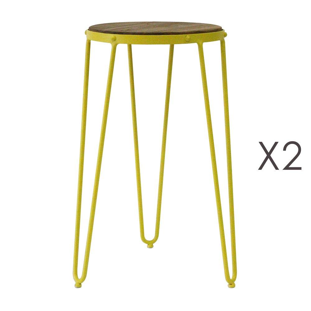 Tabouret - Lot de 2 tabourets 36x36x55 cm en métal jaune - MELODIE photo 1