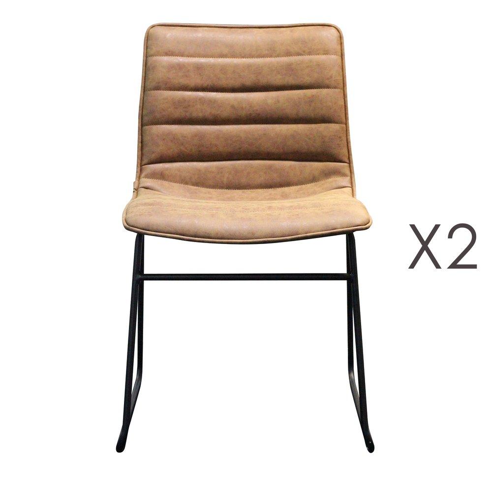 Chaise - Lot de 2 chaises repas 58x46x78,5 cm marron photo 1