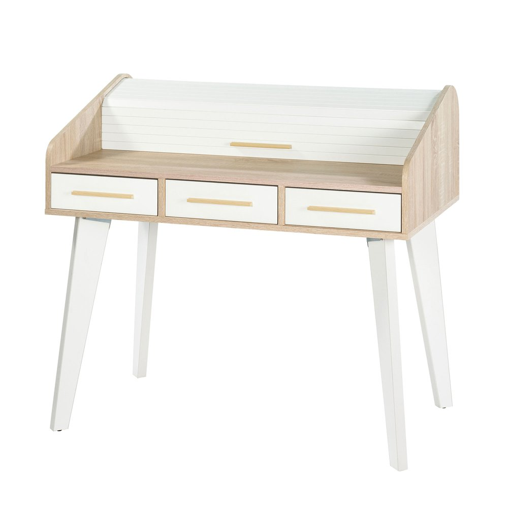 Bureau - Bureau chêne/blanc avec 3 tiroirs blancs et rideau blanc photo 1