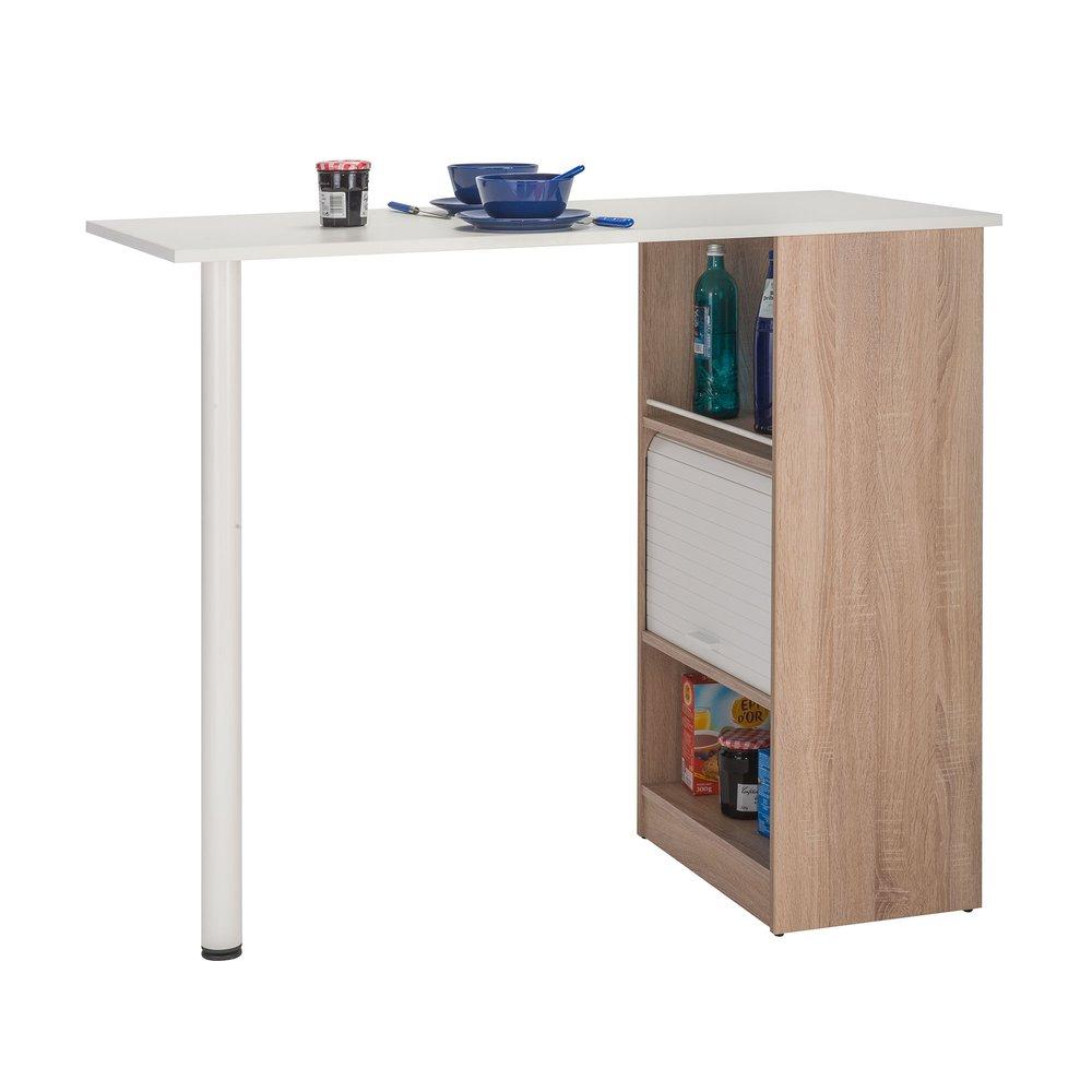 Table Haute Avec Rangement table de bar avec rangements 130 cm chêne et blanc   maison