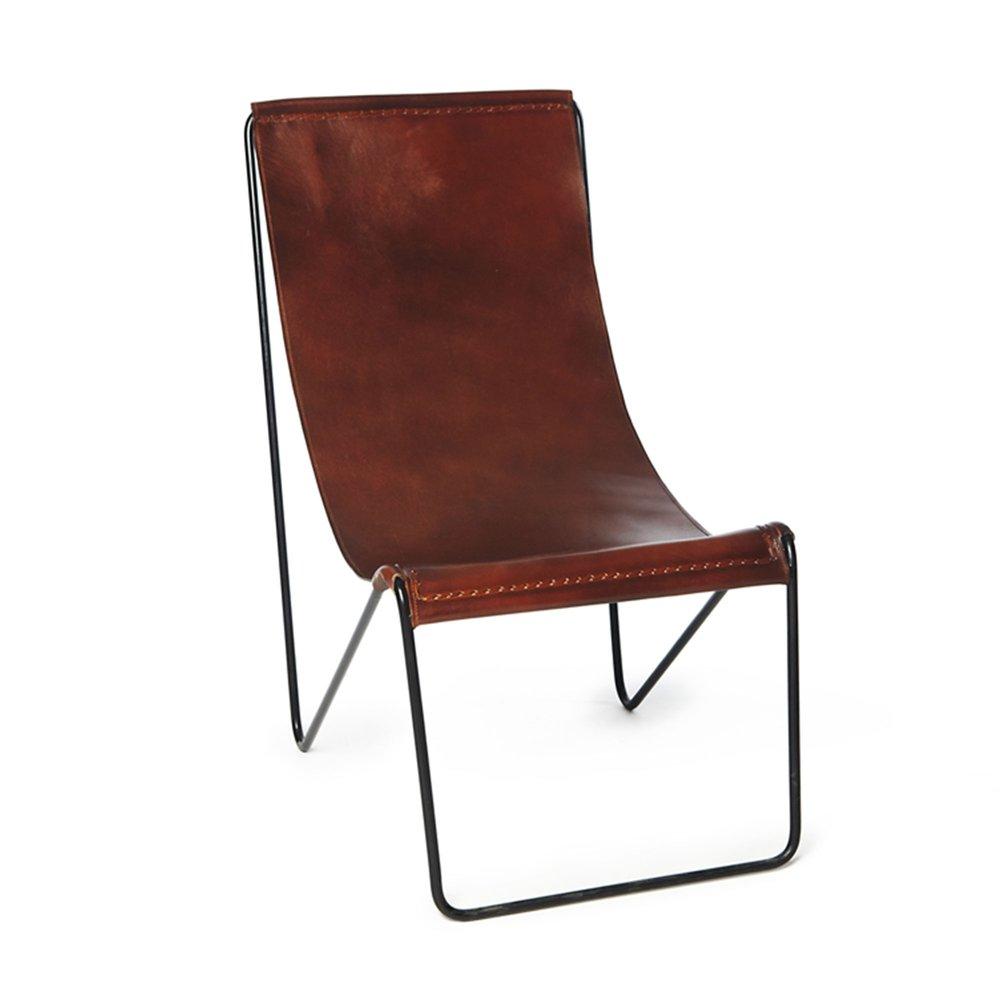 50x78x90 noirMaison en Chaise cm brun relax et métal cuir GzVpSLUMq