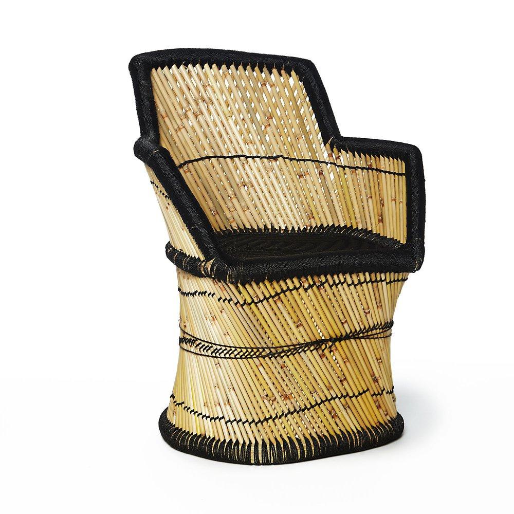 Fauteuil - Fauteuil 45x45x80 cm en bambou naturel et noir photo 1