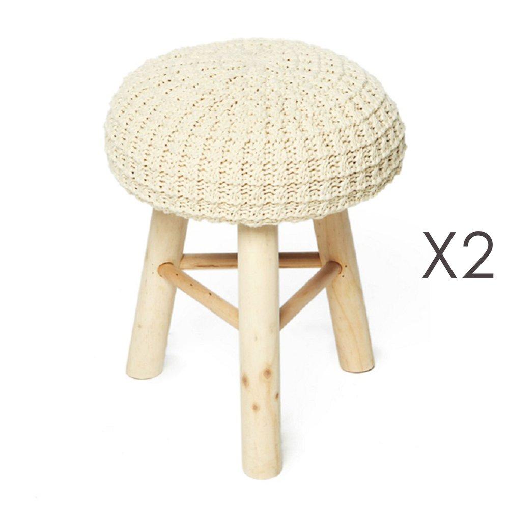 Pouf - Lot de 2 poufs 31x31x42 cm en laine beige et pieds bois - NUAGE photo 1