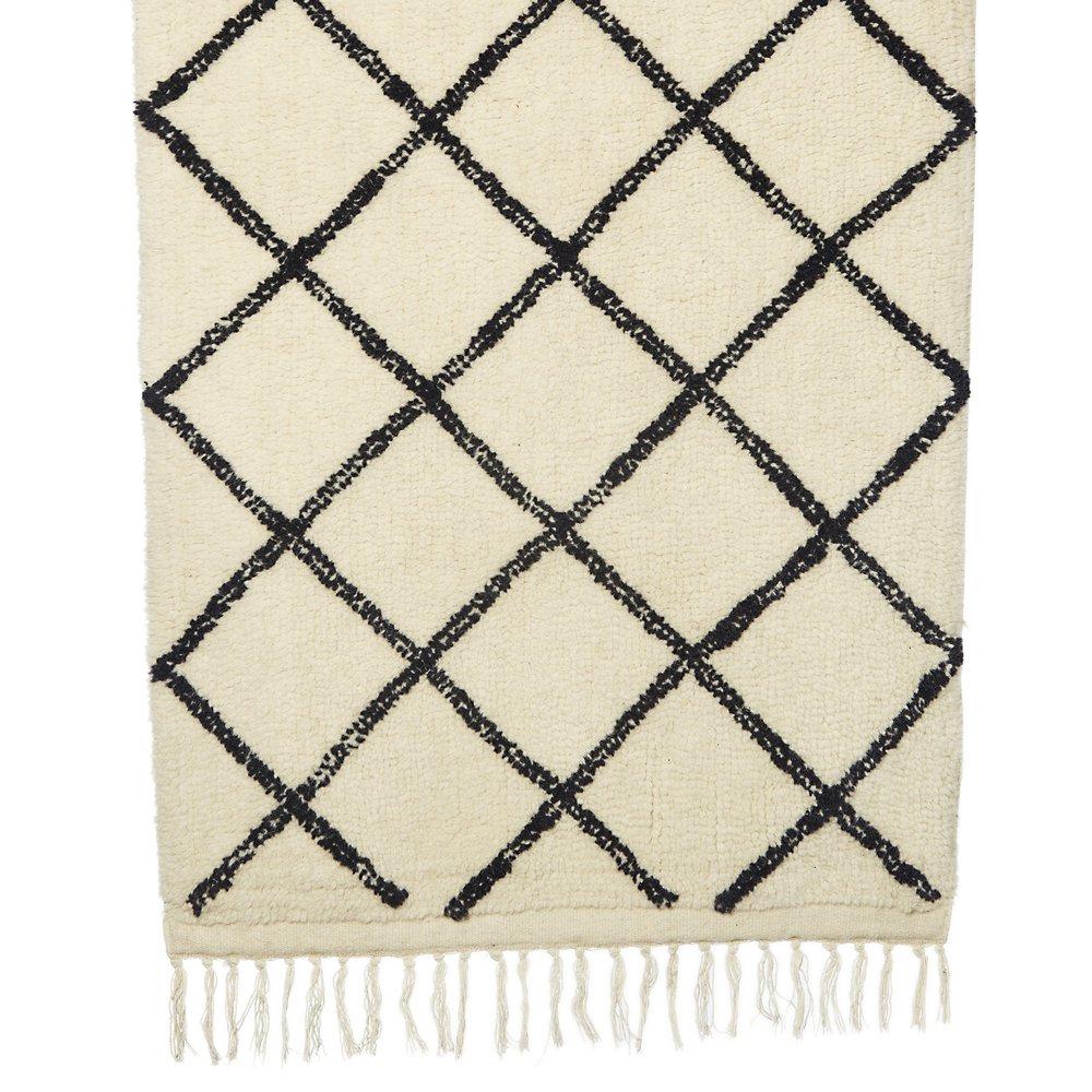 Tapis - Tapis en laine 70x140 cm imprimé blanc et noir photo 1