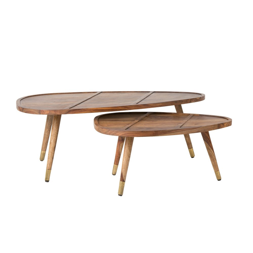 Table basse - Lot de 2 tables gigognes 110x60x40 cm en bois massif naturel - BALTIC photo 1