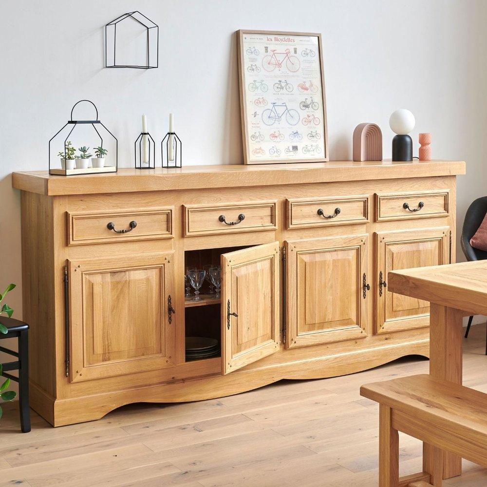 Buffet - vaisselier - Bahut 4 portes 4 tiroirs chêne clair photo 1