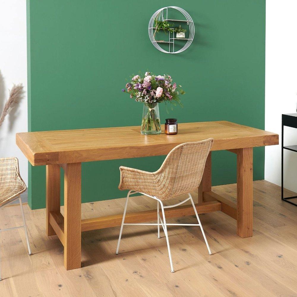 Table - Table de ferme, pieds carrés  L: 2200 mm chêne clair photo 1