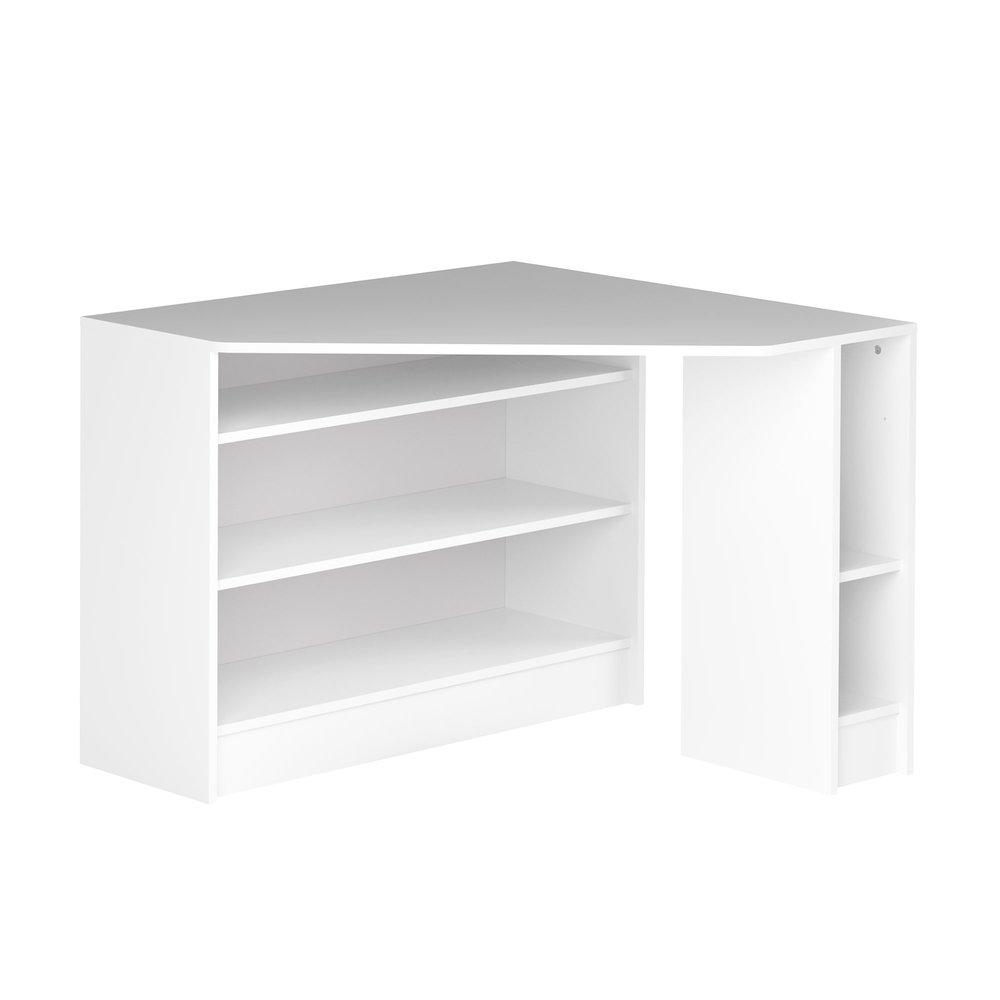 Bureau D Angle Avec Rangement 94x94x82 Cm Blanc Titouan Maison Et Styles