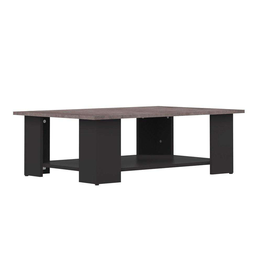 Table basse - Table basse 89x67x31 cm noir et plateau béton - MODERN photo 1