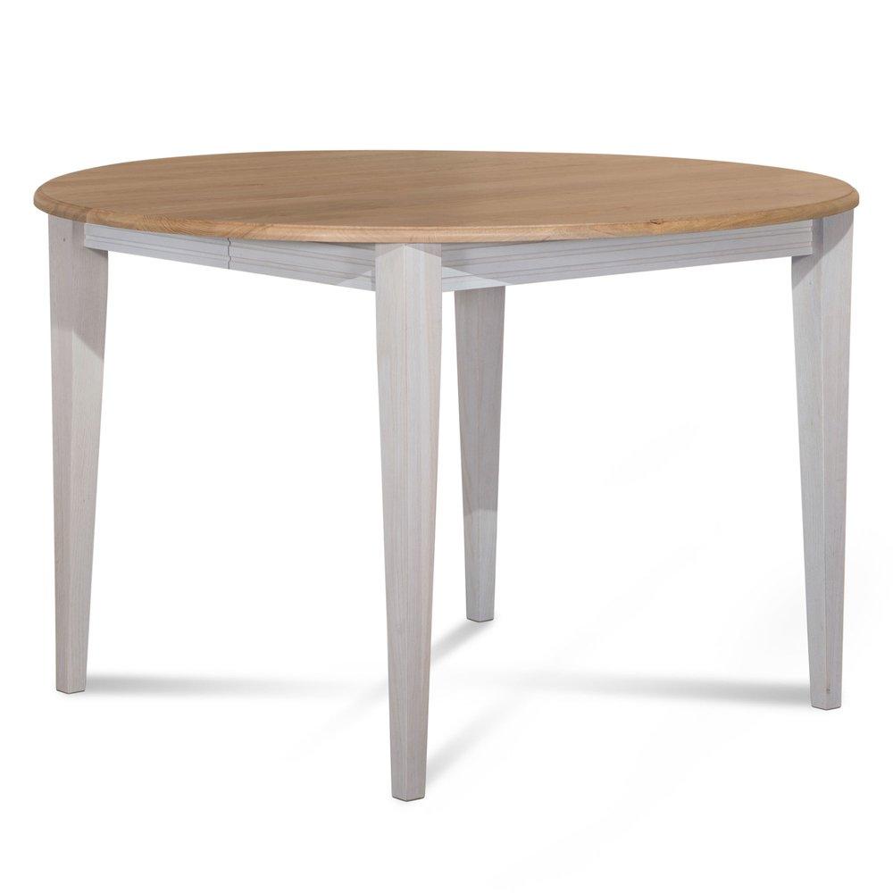 Table - Table ronde 115 cm en chêne pieds fuseau patinés blanc photo 1