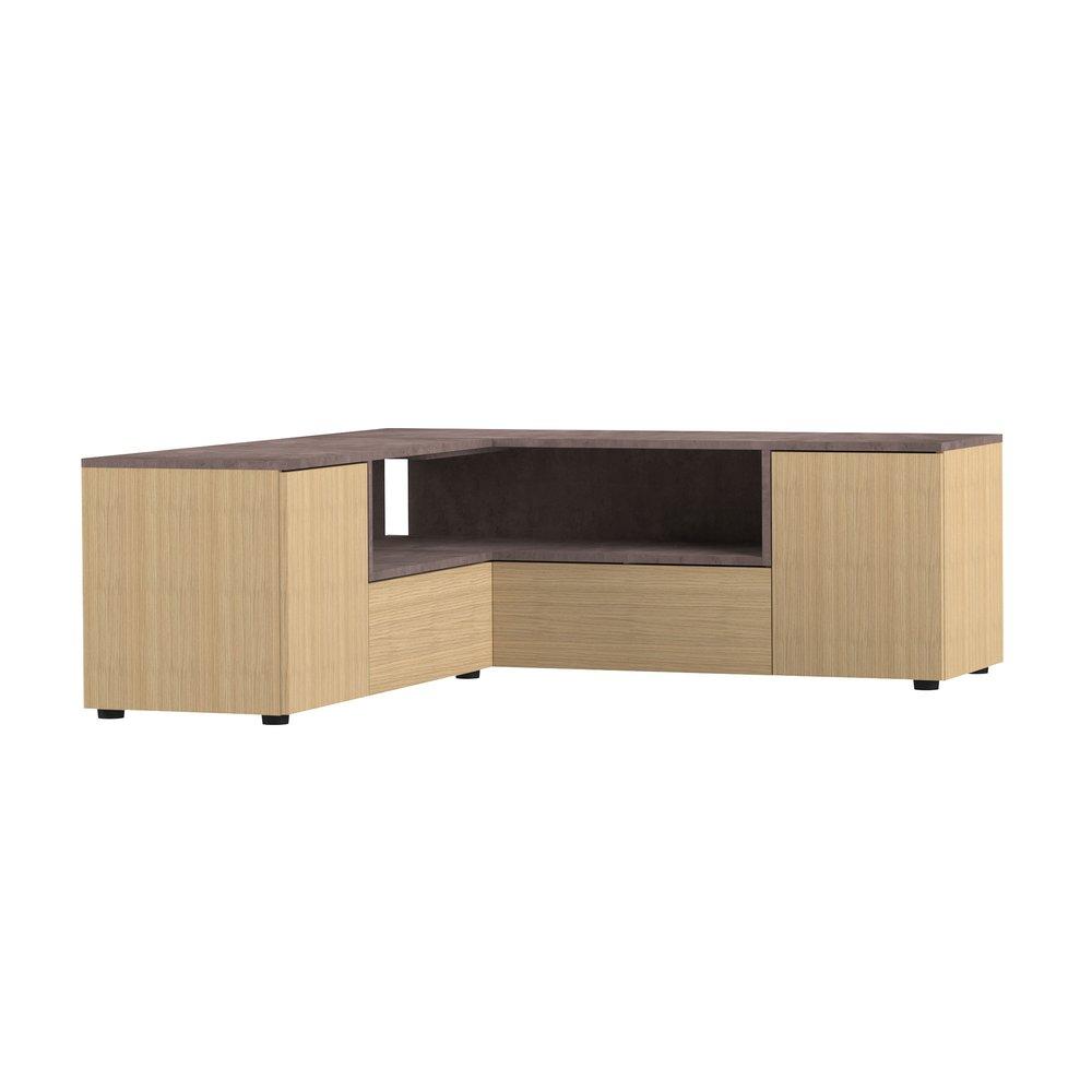 Meuble Tv Angle Bas meuble tv d'angle 130x130x46 cm chêne et béton - squar