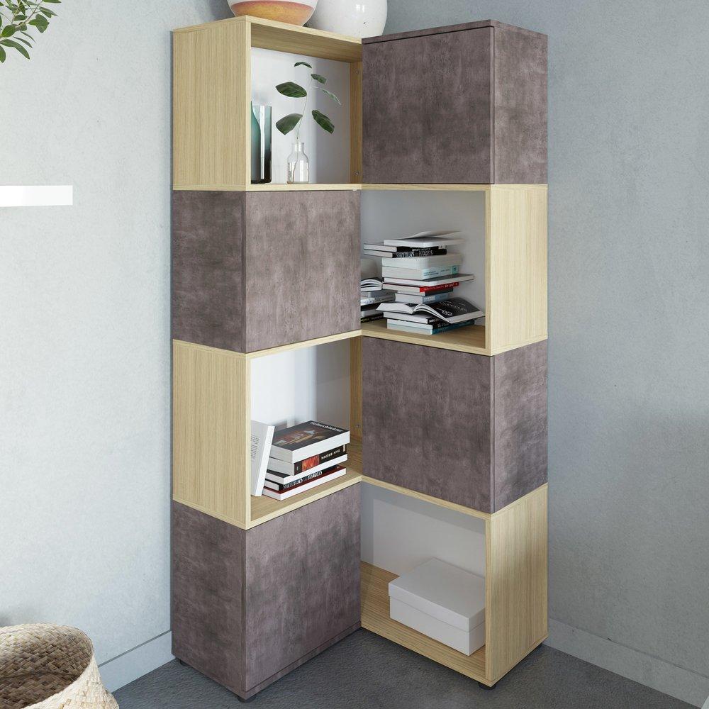 Buffet D Angle 74x74x172 Cm Chene Et Beton Squar Maison Et Styles