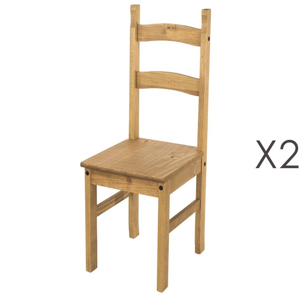 Chaise - Lot de 2 chaises 41,5x48x100 cm en pin massif - SERGO photo 1