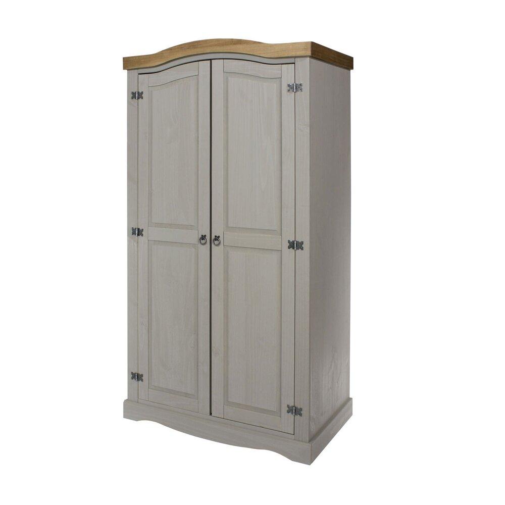 Armoire - Armoire 2 portes 100x56x190 cm gris et naturel - SERGO photo 1