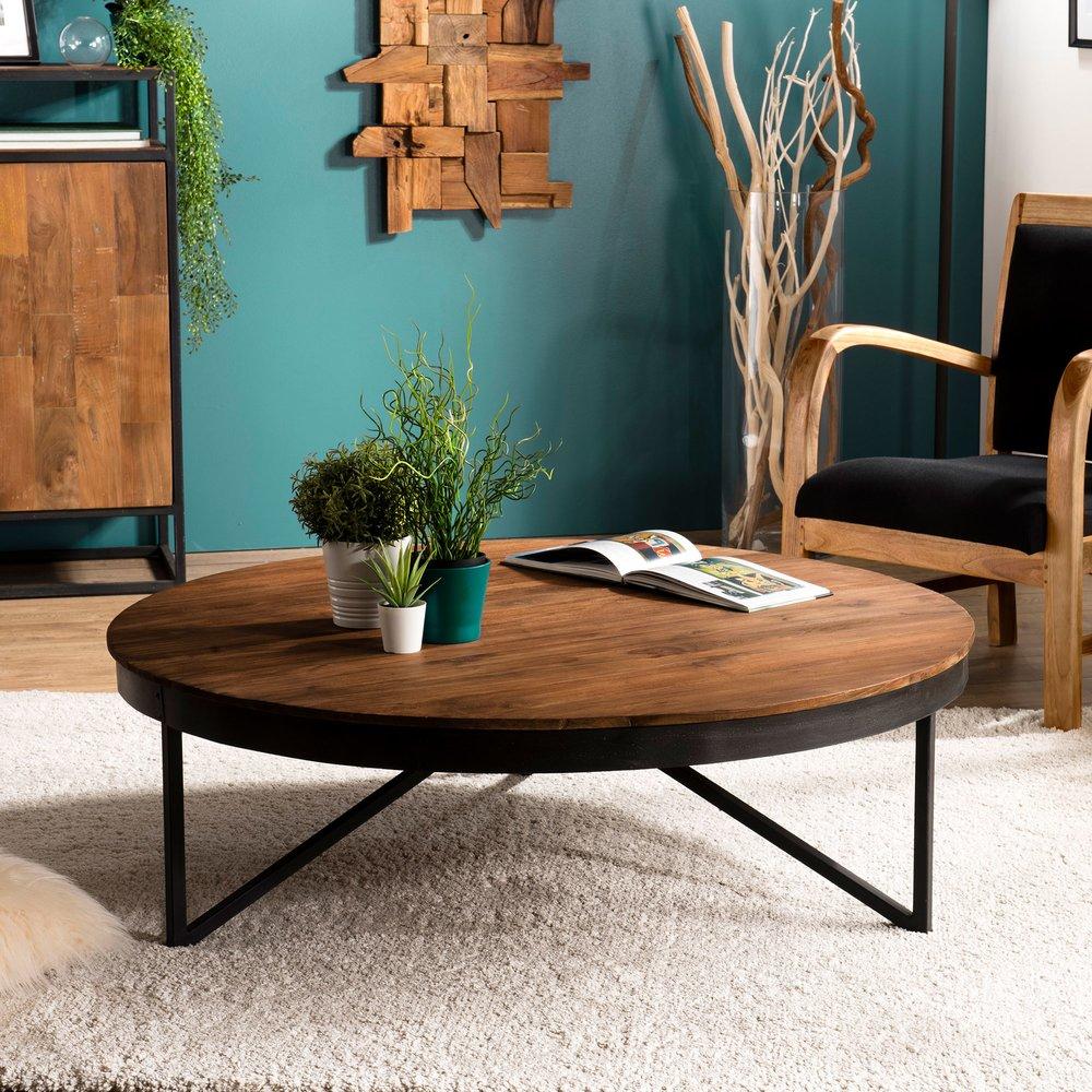 Table basse - Table basse ronde 110 cm en teck recyclé pieds métal - APPOLINE photo 1