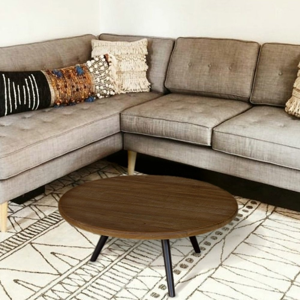 Table basse - Table basse ronde 75 cm en teck recyclé et métal - APPOLINE photo 1
