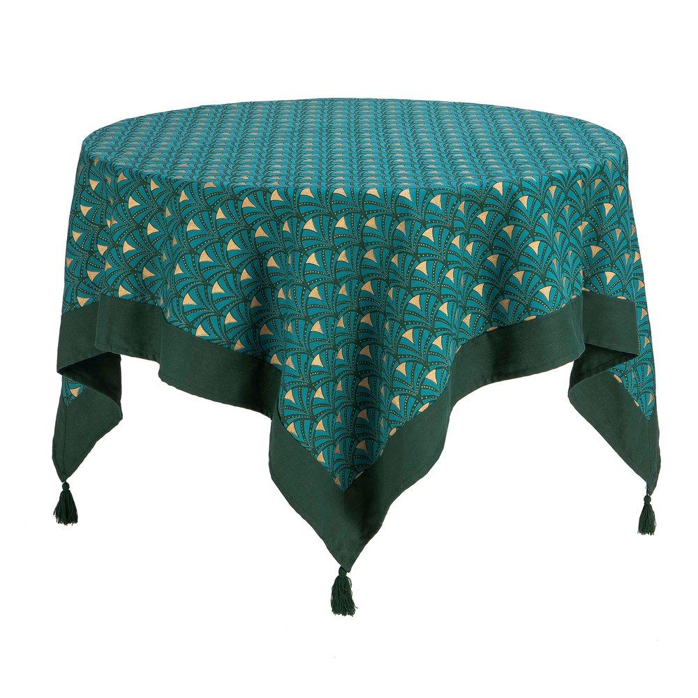 Linge de table - Nappe carrée 150x150 cm imprimée bleu et doré avec pompons - LAGON photo 1