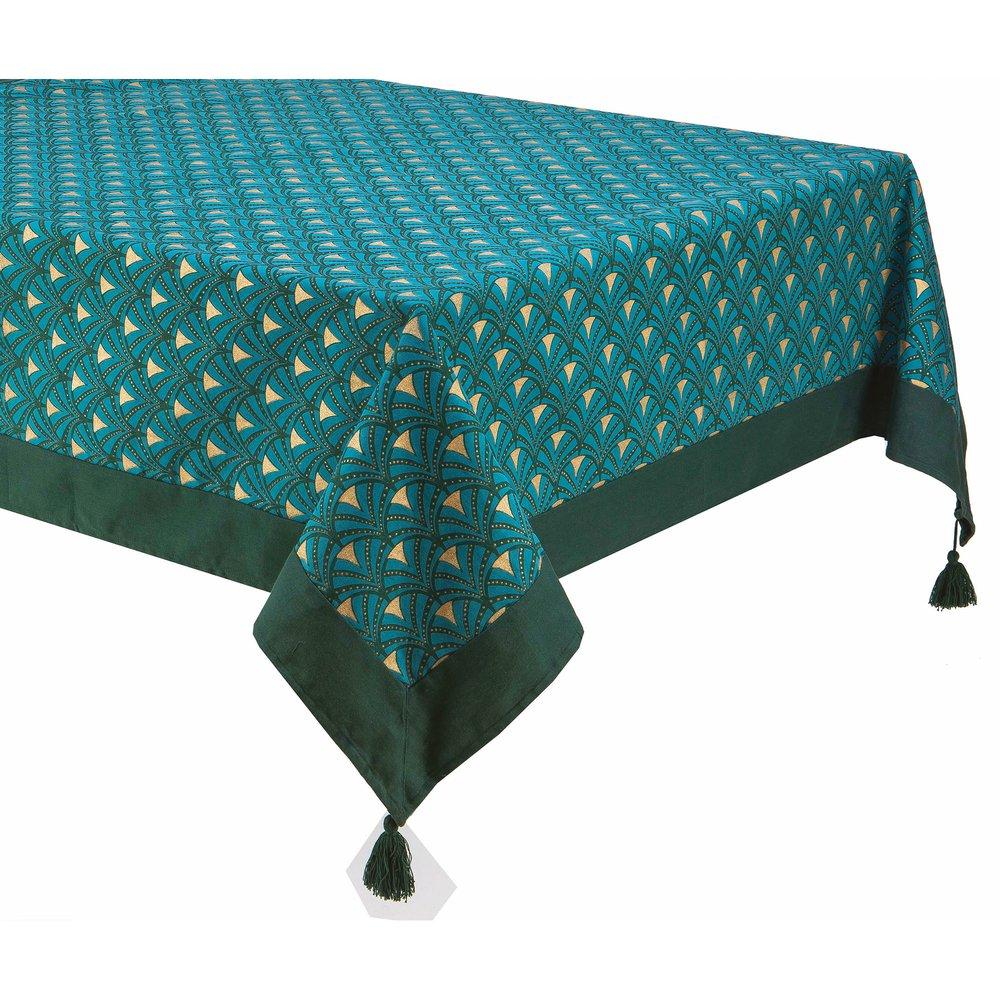 140x250 rectangulaire bleu et LAGON cm imprimée Nappe doré 4RjA5L