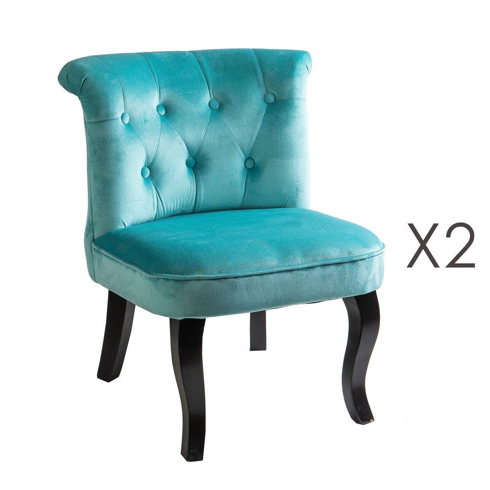 Fauteuil - Lot de 2 fauteuils crapaud en velours bleu clair - TOADY photo 1