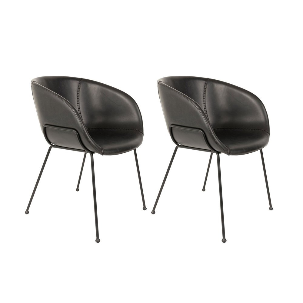 Chaise - Lot de 2 chaises 56,5x55x77 cm en cuir noir - FESTON photo 1