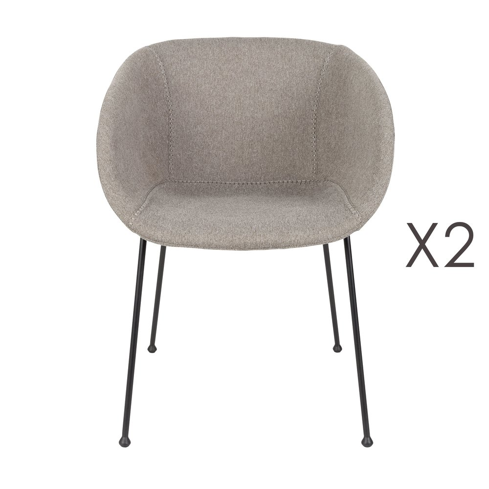 Chaise - Lot de 2 chaises 56,5x55x77 cm en tissu gris - FESTON photo 1