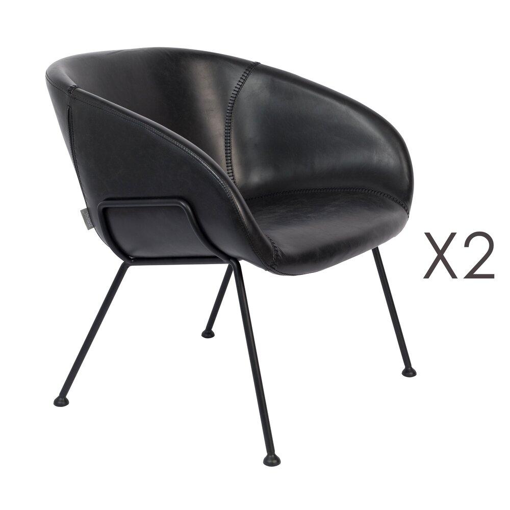 Chaise - Lot de 2 fauteuils 70,5x65,5x72 cm en PU noir - FESTON photo 1
