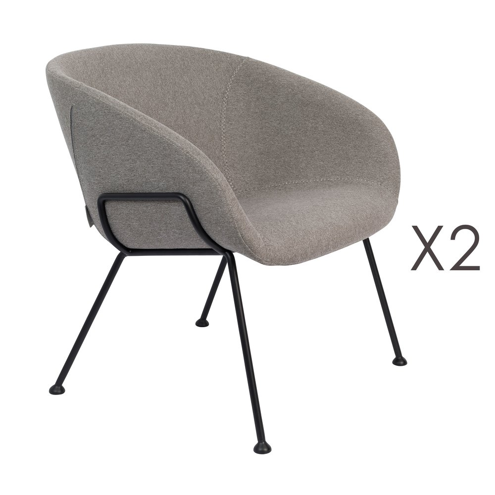 Chaise - Lot de 2 fauteuils 70,5x65,5x72 cm en tissu gris - FESTON photo 1
