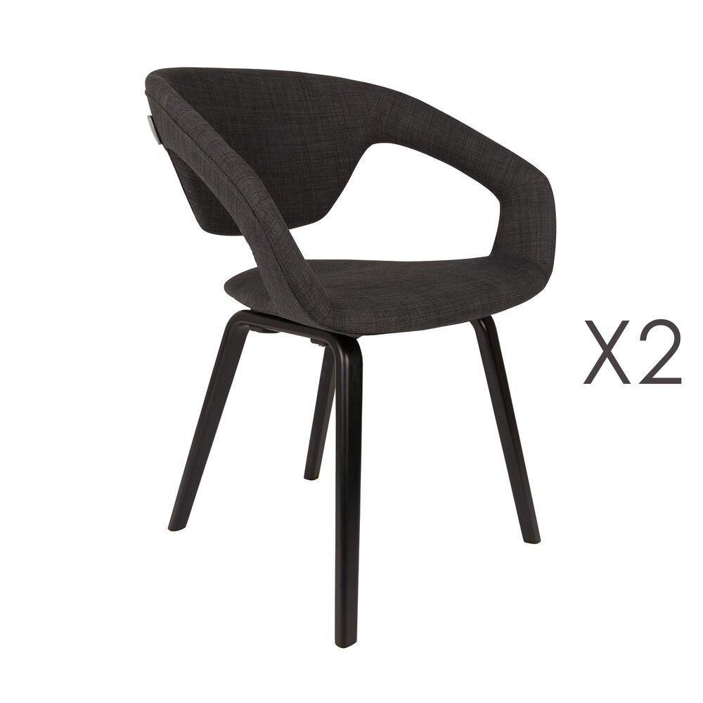 Chaise - Lot de 2 chaises design en tissu noir et pieds noirs - FLEXBACK photo 1