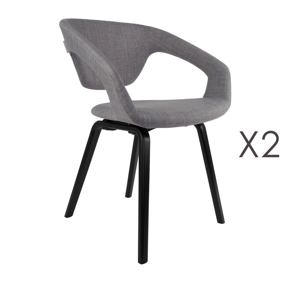 Chaise - Lot de 2 chaises design en tissu gris et pieds noirs - FLEXBACK photo 1