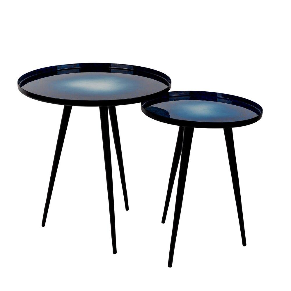 Table basse - Lot de 2 tables d'appoint en aluminium noir et bleu - FLOW photo 1