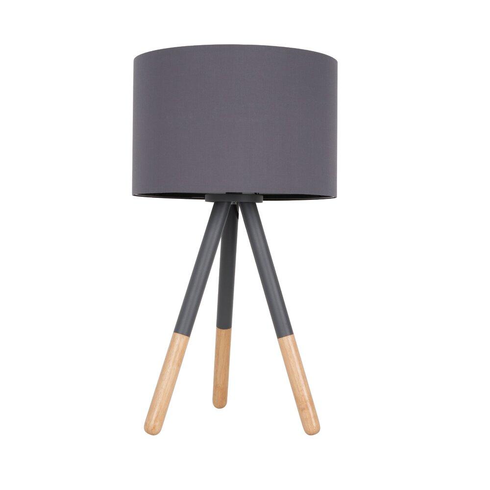 Luminaire - Lampe de table 30x30x54 cm en tissu et bois gris - HIGHLAND photo 1