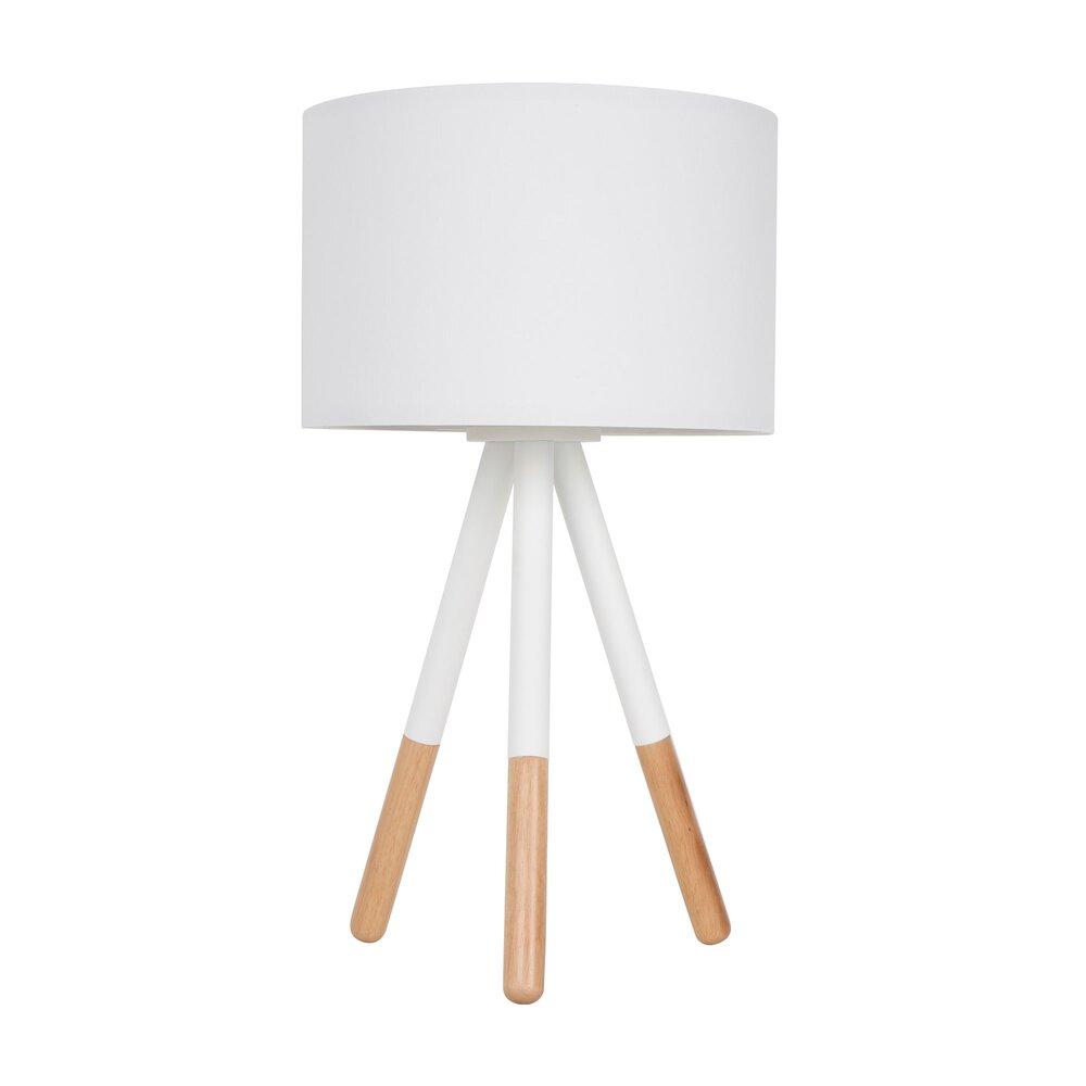 Luminaire - Lampe de table 30x30x54 cm en tissu et bois blanc - HIGHLAND photo 1