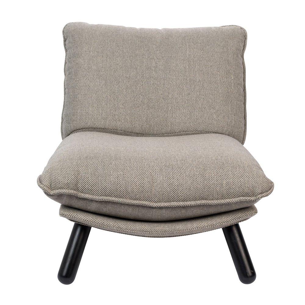 Fauteuil lounge 75x94x81 cm en tissu gris LAZY
