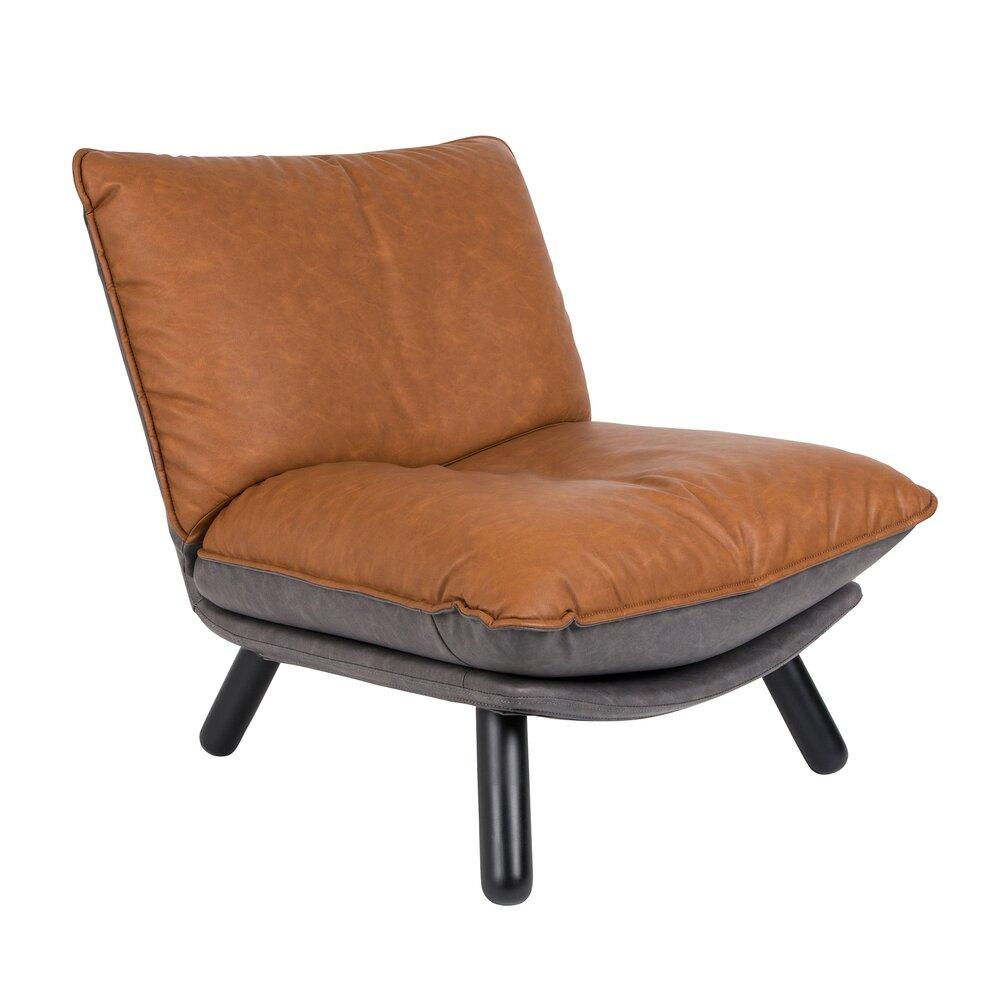 Canapé - Fauteuil lounge 75x94x81 cm en cuir marron et gris - LAZY photo 1