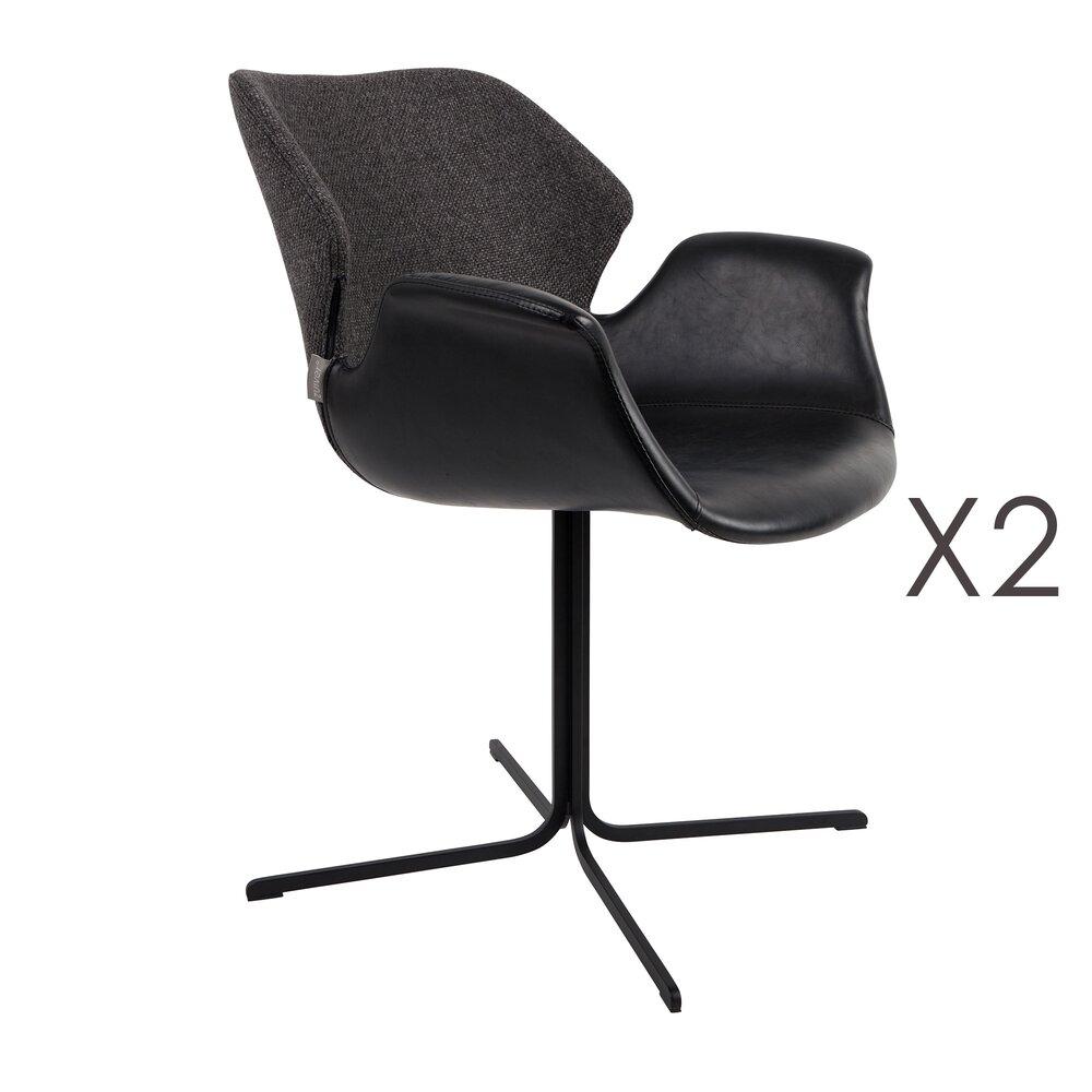 Chaise - Lot de 2 chaises design en cuir noir - NIKKI photo 1