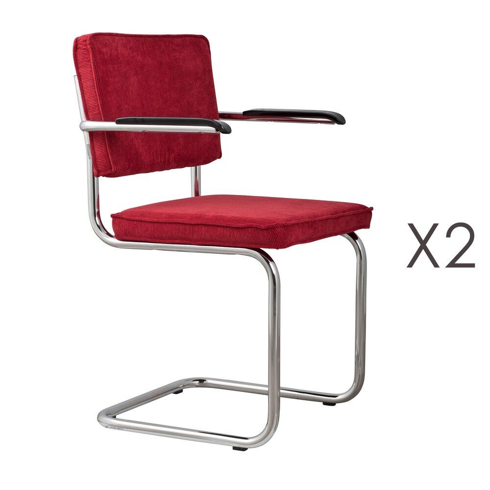 Chaise - Lot de 2 chaises avec accoudoirs en tissu rouge - RIDGE photo 1