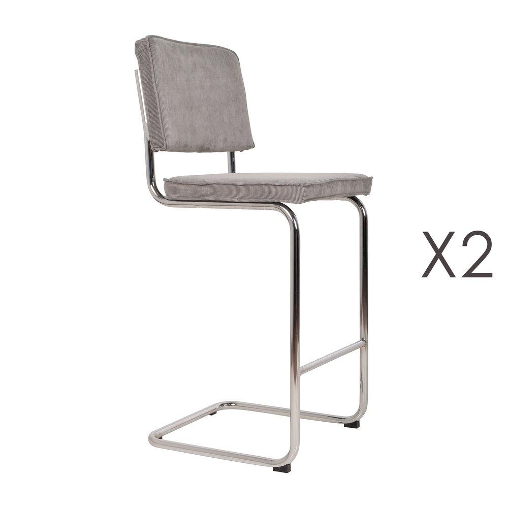 Tabouret de bar - Lot de 2 chaises de bar en tissu gris clair - RIDGE photo 1