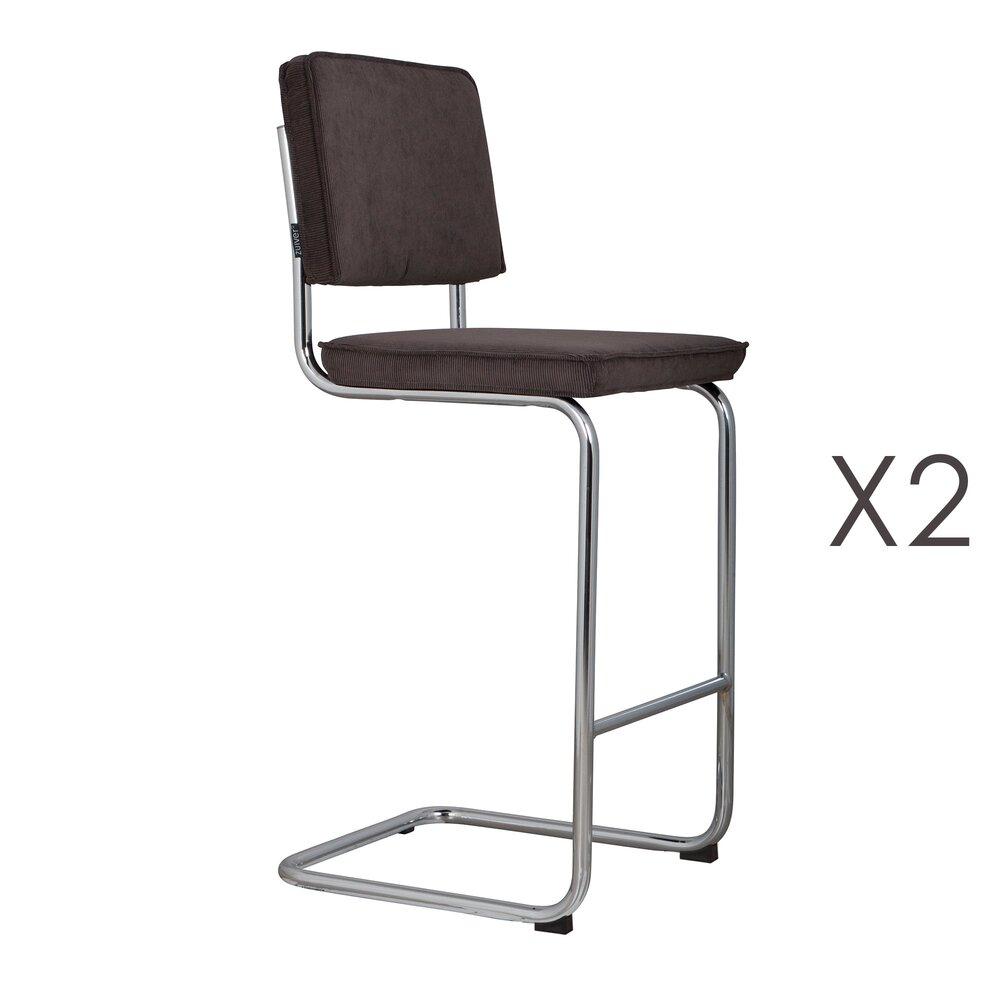 Tabouret de bar - Lot de 2 chaises de bar en tissu gris - RIDGE photo 1
