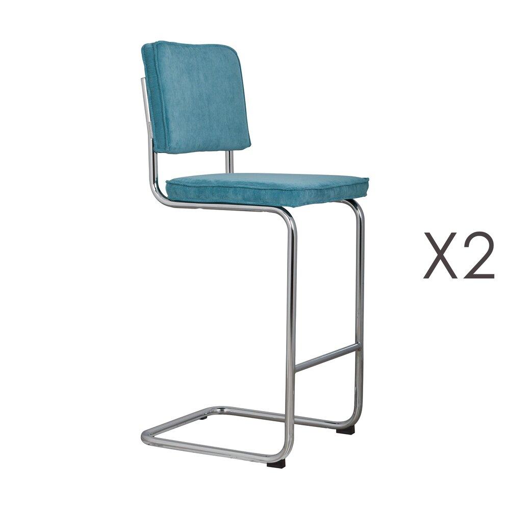 Tabouret de bar - Lot de 2 chaises de bar en tissu bleu - RIDGE photo 1