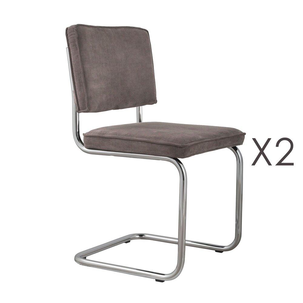 Chaise - Lot de 2 chaises en tissu gris - RIDGE photo 1