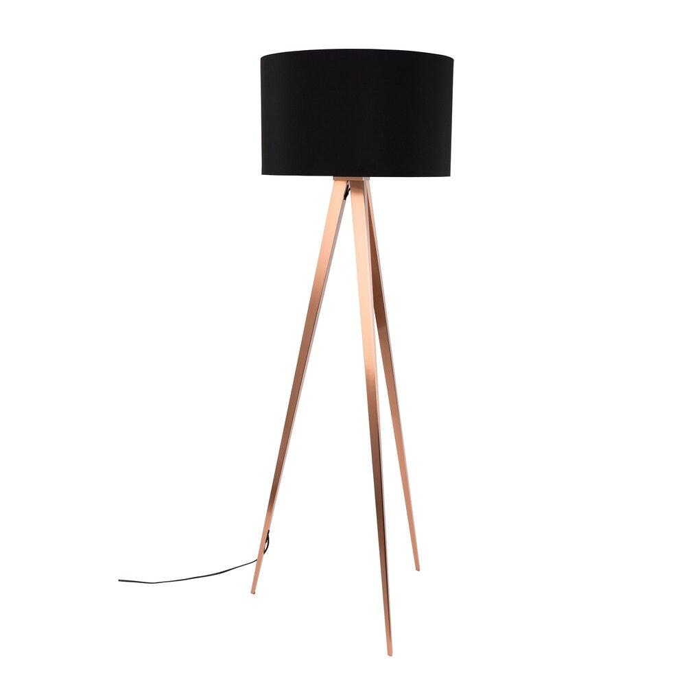 Luminaire - Lampadaire 50x50x157 cm en tissu noir et pieds cuivrés - TRIPOD photo 1