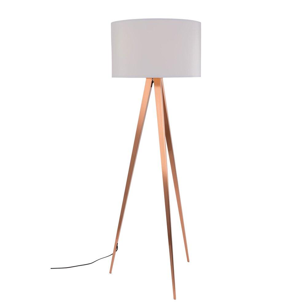 Luminaire - Lampadaire 50x50x157 cm en tissu blanc et pieds cuivrés - TRIPOD photo 1