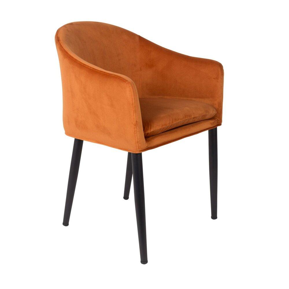 Fauteuil - Fauteuil 57x55,5x77 cm en velours orange photo 1