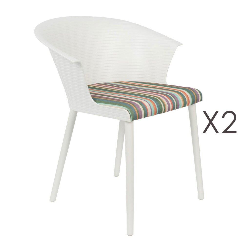 Chaise - Lot de 2 fauteuils blancs avec assise multicolore - BAYA photo 1